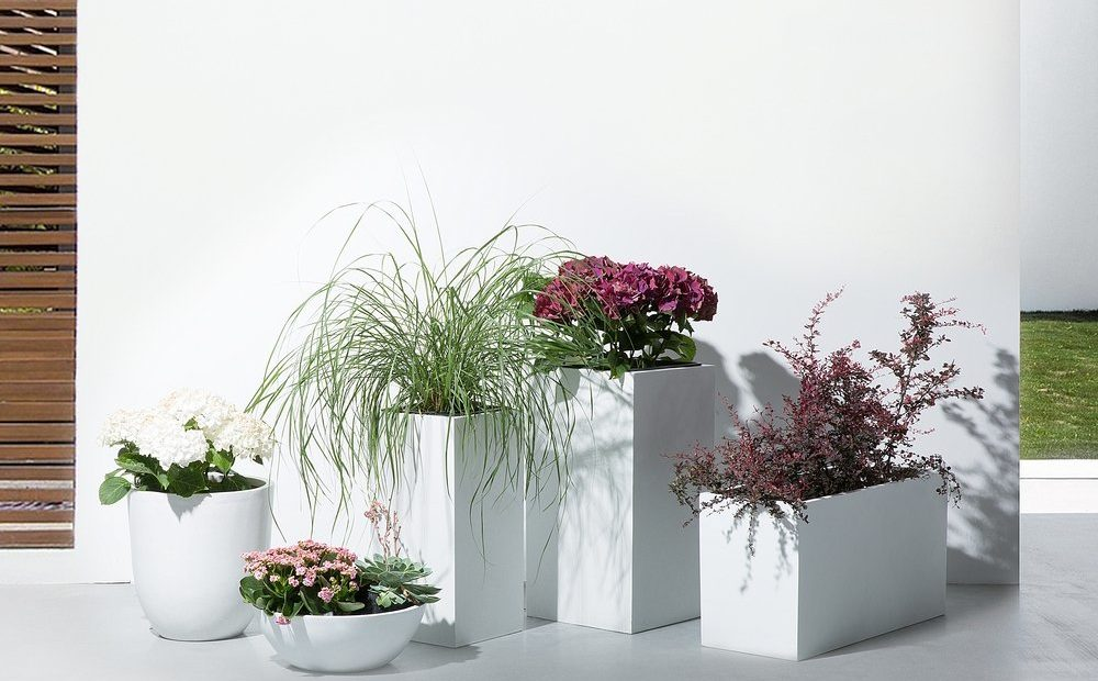 Fehér virágtartó - virágedény - virágcserép